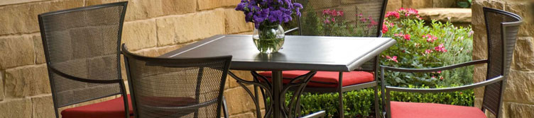 Outdoor patio furniture set up on home patio