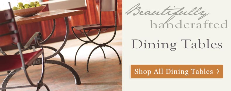 Bring your family together around a one-of-a-kind dinner table with a hand-forged wrought iron base