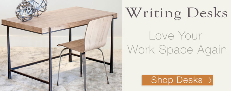Love your work space again, upgrade your home office with a beautiful iron base writing desk.