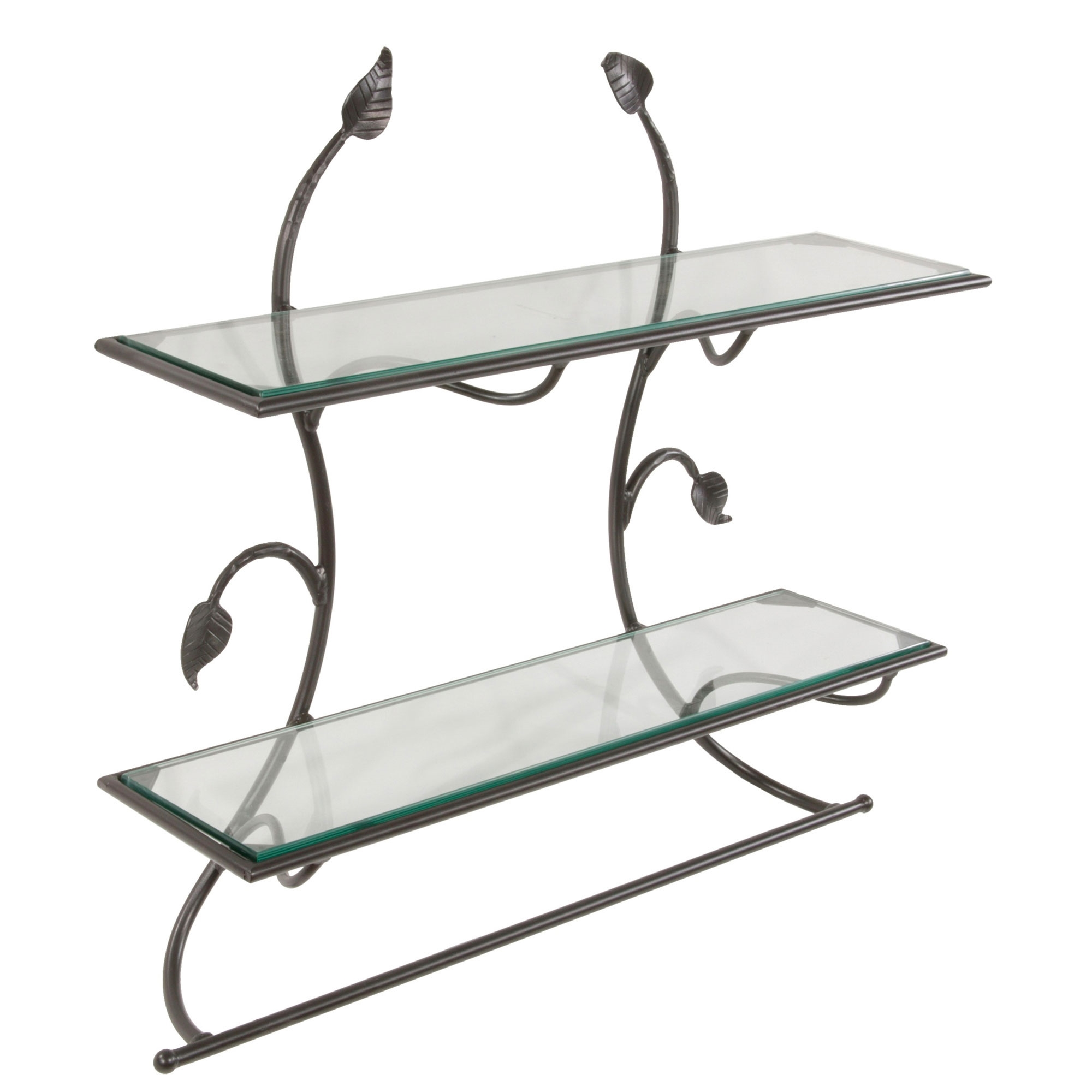 Pictured is the wrought iron Leaf Wall Shelf Towel Bar