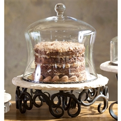 Wrought Iron Siena Lazy Susan with Cake Cover by Bella Toscana