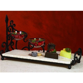 Wrought Iron Siena 2-Bowl Server with Bowls by Bella Toscana