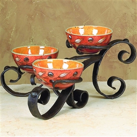Wrought Iron Amalfi Triple Bowl Server by Bella Toscana