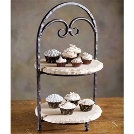 Wrought Iron Siena 2-Tier Marble Server by Bella Toscana