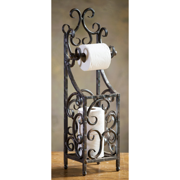 Wrought iron siena toilet paper holder by bella toscana for Wrought iron decorations home