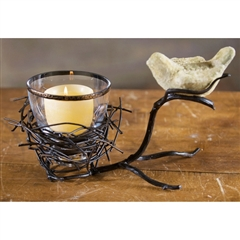 Wrought Iron Twig Bird Candleholder by Bella Toscana