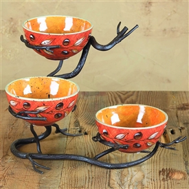 Wrought Iron Twig Triple Bowl Server by Bella Toscana