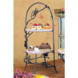 Wrought Iron Vineyard 2-Tier Marble Server by Bella Toscana