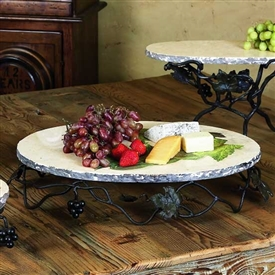 Wrought Iron Oval Marble Server by Bella Toscana
