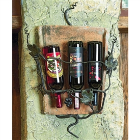 Wrought Iron Tile Wall Wine Holder - 3 Bottle by Bella Toscana