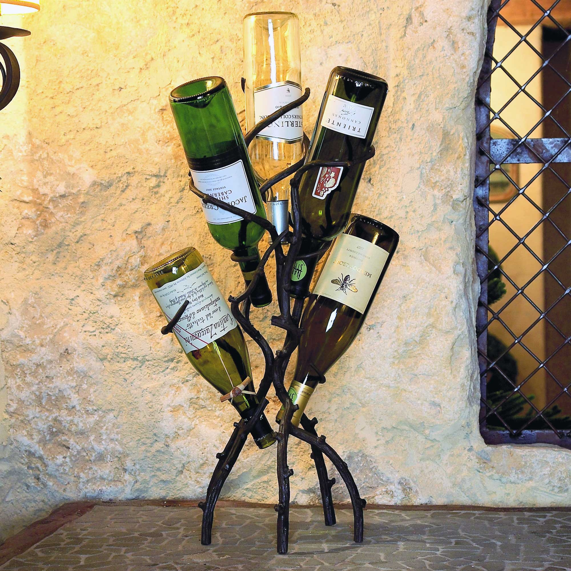 Pictured Here Is The Wrought Iron Wine Tree Holds 5 Bottle