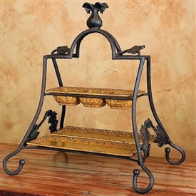Wrought Iron Villa 2-Tier Server by Bella Toscana