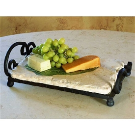 Wrought Iron Siena Marble Server by Bella Toscana