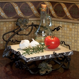 Wrought Iron Square Marble Server by Bella Toscana