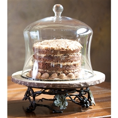 Wrought Iron Marble Lazy Susan with Cake Cover by Bella Toscana