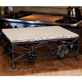 Wrought Iron Vineyard Server 9x13x5 with marble by Bella Toscana