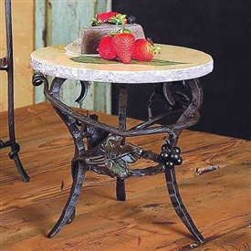 Wrought Iron Raised Round Marble Server by Bella Toscana