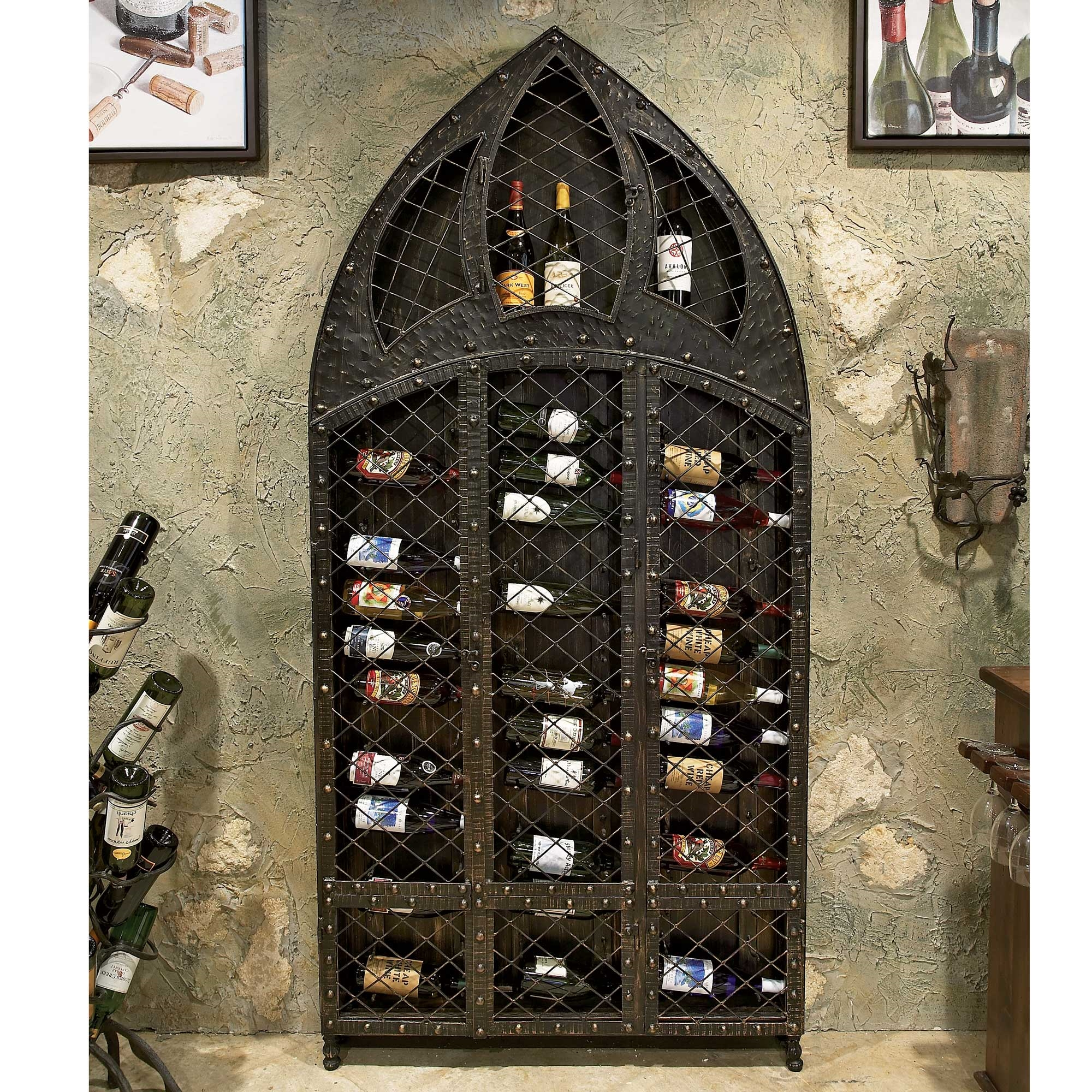 Pictured here is the wrought iron wine rack bottle