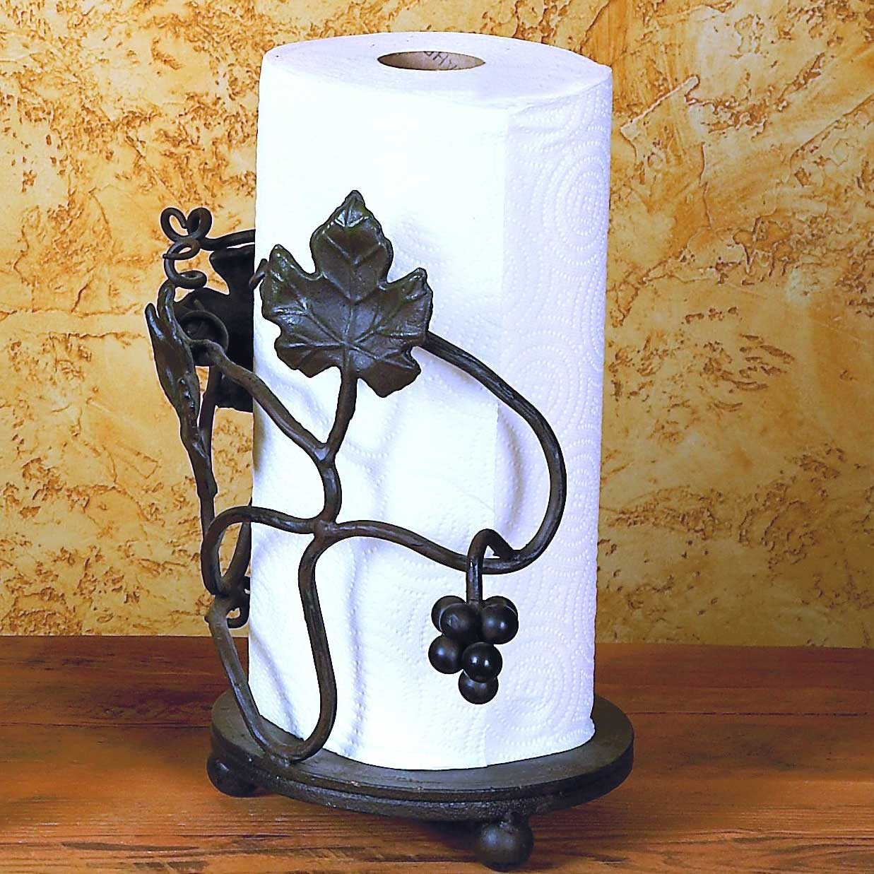 Pictured here is the Wrought Iron Grape Vine Paper Towel Holder by