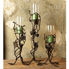 Wrought Iron Hurricane Candlestick Set by Bella Toscana