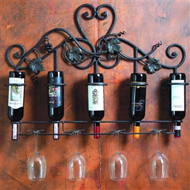 Wrought Iron Wall Wine Holder - 5 Bottle by Bella Toscana