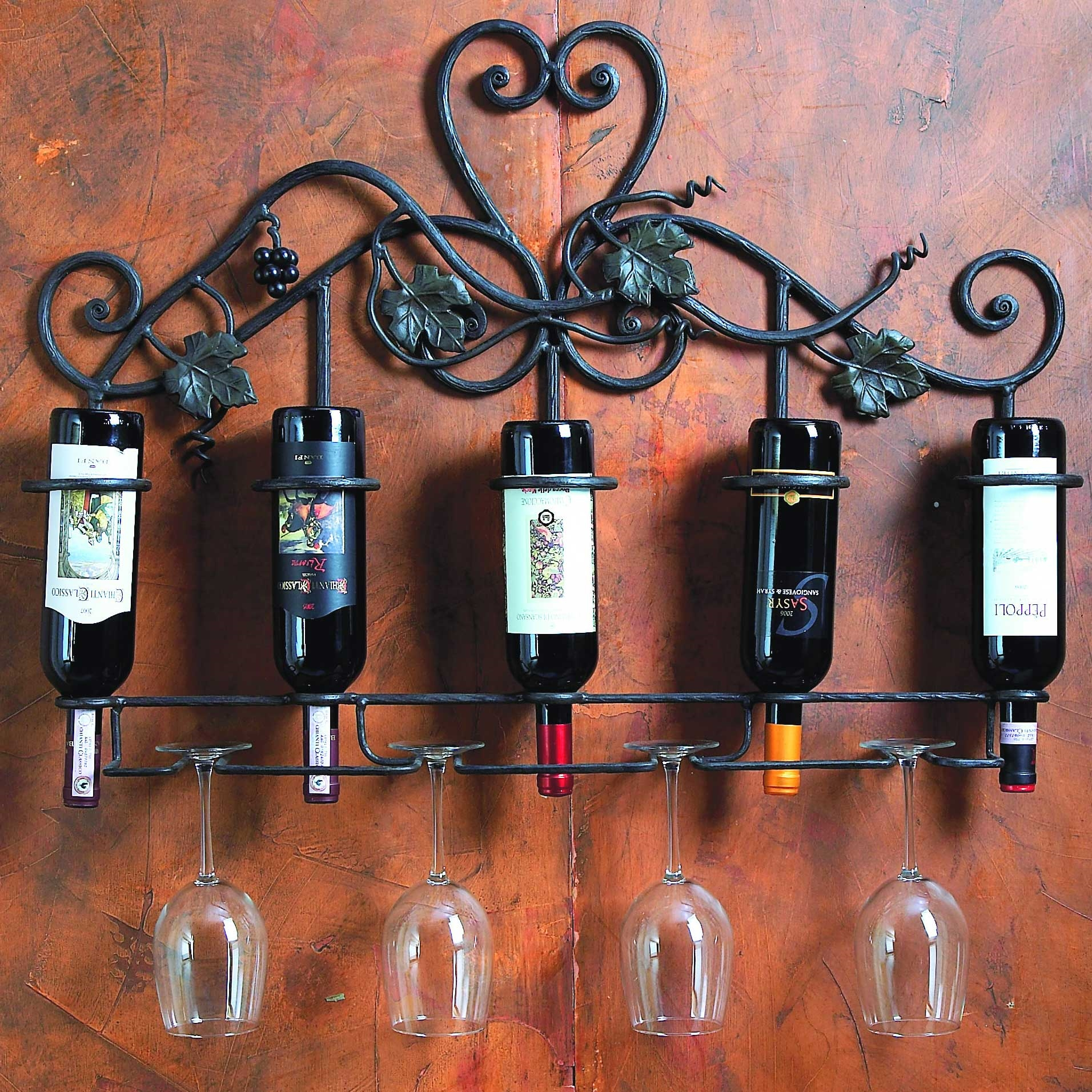 Wrought Iron Wall Wine Holder 5 Bottle By Bella Toscana
