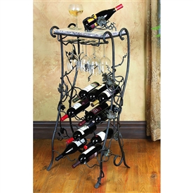 Wrought Iron Wine Rack Server - 16 Bottle by Bella Toscana
