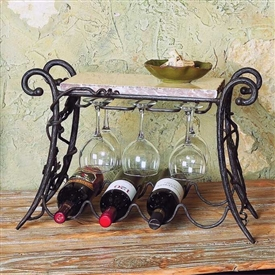 Wrought Iron Wine and Glass Rack - 4 Bottle by Bella Toscana