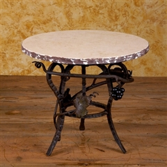Wrought Iron Marble Lazy Susan - Raised by Bella Toscana