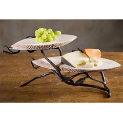 Wrought Iron Fruitwood 2-Tier Marble Server by Bella Toscana