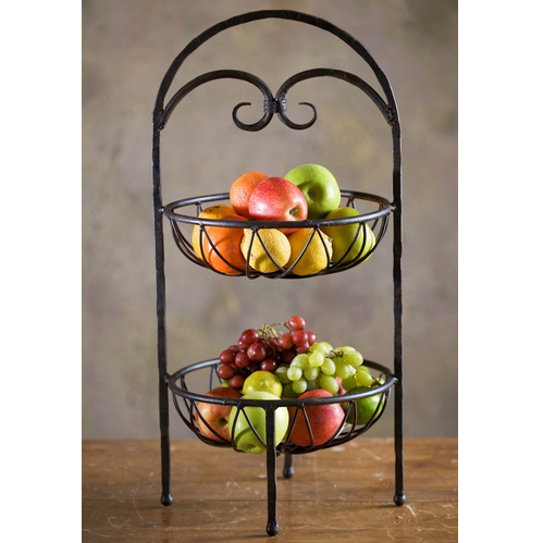 wrought iron siena 2 tier fruit stand by bella toscana. Black Bedroom Furniture Sets. Home Design Ideas