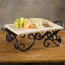 Pictured here is the Wrought Iron Siena Server with Marble by Bella Toscana