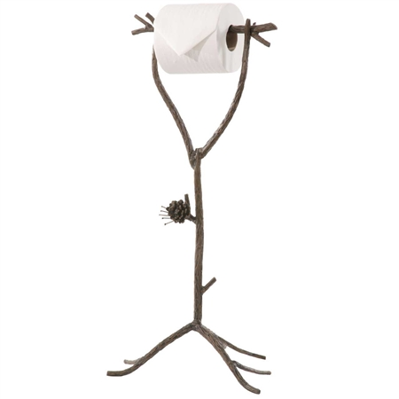 Wrought Iron Pine Collection Standing Toilet Paper Holder
