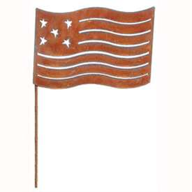 Wrought Iron Large Rusted Flag Garden Stake