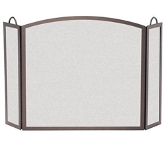 Wrought Iron 3 Panel Center Arch Fireplace Screen - 12 Side Width by Pilgrim