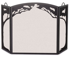 Wrought Iron 3 Panel Grand Oak Fireplace Screen by Pilgrim