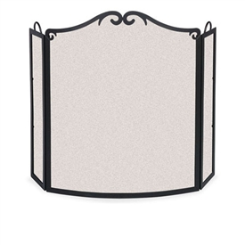 Wrought Iron 3 Panel Arch Bow Fireplace Screen by Pilgrim