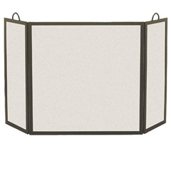 Wrought Iron 3 Panel Rectangular Fireplace Screen - 8 Side Width by Pilgrim