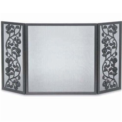 Wrought Iron 3 Panel Cast Rose Fireplace Screen by Pilgrim