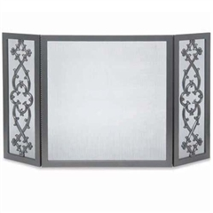 Wrought Iron 3 Panel Cast Traditional Fireplace Screen by Pilgrim