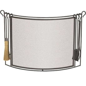 Wrought Iron Bowed Fireplace Screen with Hearth Tools by Pilgrim
