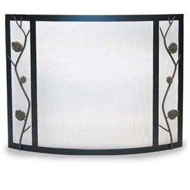 Wrought Iron Bowed Artisan Pine Cone Fireplace Screen by Pilgrim