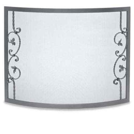 Wrought Iron Bowed Forged Scallop Fireplace Screen by Pilgrim