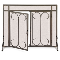 Wrought Iron Iron Gate Fireplace Screen with Doors by Pilgrim