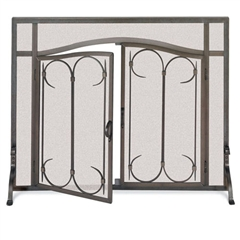 Wrought Iron Iron Gate Fireplace Screen with Arched Doors by Pilgrim