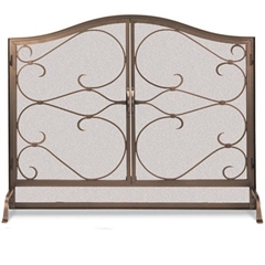 Wrought Iron Iron Gate Arched Fireplace Screen with Doors by Pilgrim