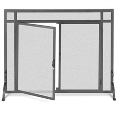 Wrought Iron Flat Fireplace Screen with Doors by Pilgrim