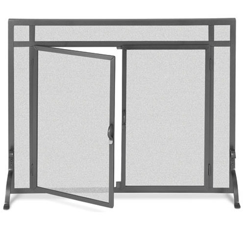 Flat Fireplace Screen With Doors 2 Size Options