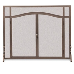 Wrought Iron Flat Fireplace Screen with Arched Doors by Pilgrim
