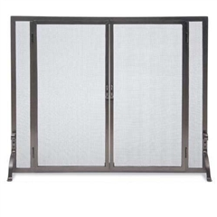 Wrought Iron Flat Fireplace Screen with Full Height Doors by Pilgrim